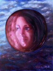"""Ruby Moon"" 9x12 original framed panel $125"