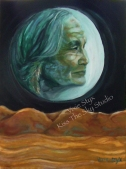 """Turquoise Moon"" 9x12 original oil on panel framed $125"